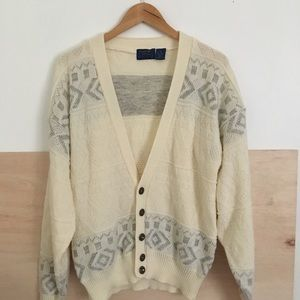 Vintage Cream and Gray Button Cardigan
